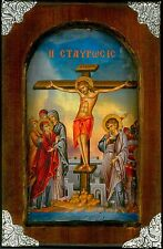 Handmade Wooden Greek Orthodox Aged Icon Painting Canvas Cross Crucifixion M5