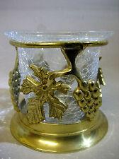 Vintage handmade brass and glass candle holder / vase