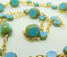 """Aqua Blue Green Turquoise Picasso Czech Glass 14K Gold Plate chain 43"""" Necklace"""