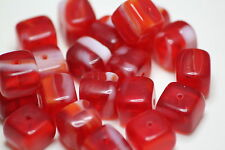 20 INDIAN GLASS CUBE BEADS RED 8mm x 8mm (BBB556)