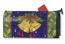 "CHRISTMAS BELLS & HOLLY MAILBOX COVER MAGNETIC & 1"" NUMBERS WINTER DECOR"
