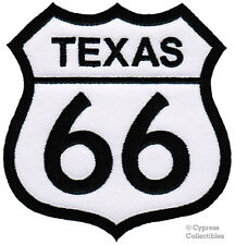 ROUTE 66 TEXAS iron-on MOTORCYCLE BIKER PATCH new ROAD SIGN embroidered