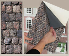 SELF ADHESIVE DOLLS HOUSE WALLPAPER 1/12th SCALE VINYL SHEET Cobblestones - 67