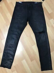 MADE ITALY WAXED Diesel Thommer PATCH Stretch Denim 084JY BLACK Slim W33 L32 H6