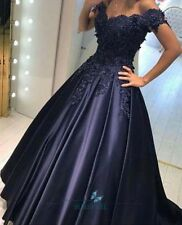 Navy A-line Evening Dresses Satin Bridesmaid Dress Lace Pageant Party Prom Gown