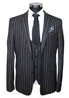 Jack Martin - Black Chalk Stripe Superior Semi Slim Fit 3 Piece Suit