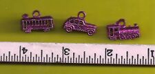 1940's Cracker Jack Metal Charms .. Lot 2 .. a Train, Trolly and car (RED)