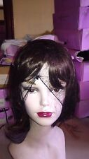 BROWN WIG, SYNTHETIC JAPANESE FIBER, ASIAN STYLE, BROWN. ADJUSTABLE INNER CAP. F