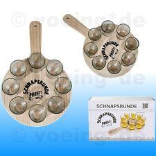 """Shooter-Gläser Schnapsgläser Pinnchen 8er Set mit Holztablett """"Schnapsrunde"""""""