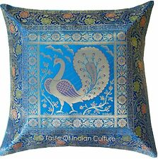 "17"" Turquoise Blue Pillow Cushion Cover Silk Brocade Sofa Throw India Decorative"