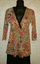 Johnny Heaven Sweet Pea Anthropologie Mesh Floral Blouse Tunic Top Sz M #2822