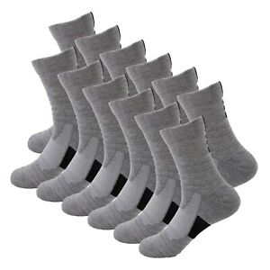 12 Pairs Mens Athletic Cotton Casual Long Sport Work Crew Socks Size 9-11 6-12