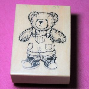 Vintage PSX Wooden Rubber Ink Stamp 4 Card Making, Teddy Bear in Sneakers, USA