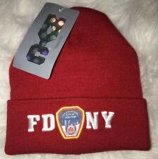 FDNY Winter Warm Beenie Beanie Hat RED Cap New With Tags NY BRAVEST