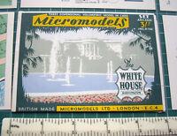 1955 Vintage Micromodels ARC23 The White House Washington D.C. Paper Model Kit.