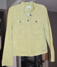 Christopher & Banks Womens Green/White Long Sleeve Button Down Jacket Size:M