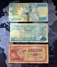 Banknote Collectible old 100 Portuguese , 100 Yugoslavia  , 500 Turkish notes