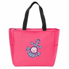 Anchor Chevron Monogrammed Zipper Tote - Many Colors Available