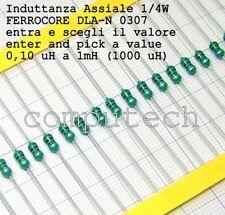 5 pezzi Induttanza assiale AL0307 1/4W a scelta tra 49 valori da 0,10uH a 1mH