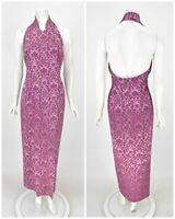 Womens Karen Millen Jacquard Dress Halter Neck Long Maxi Evening Purple 12UK