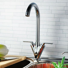 New TWIN LEVER MODERN CHROME SWIVEL SPOUT KITCHEN SINK BASIN MIXER TAP