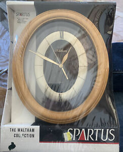 "Rare NEW SEALED Vintage Spartus Waltham 12 1/2"" X 10 1/2"" Oval SOLID WOOD CASE"