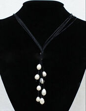 New Fashion Black Leather Rope & White Freshwater Pearl Necklace 20'' Long