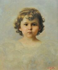 VOITLER BILLNEY (19th CENTURY) FRENCH PORTRAIT OF YOUNG GIRL ANTIQUE PAINTING