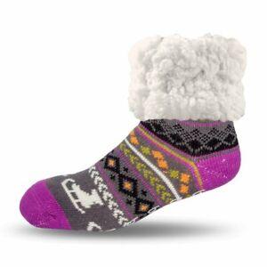 Pudus Cozy Holiday Winter Slipper Socks Women & Men w Non-Slip Grippers Faux
