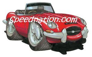 Jaguar E-Type XK-E Cartoon car T-SHIRT series available in sizes S-3XL