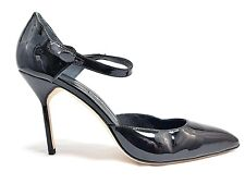Manolo Blahnik Black Patent Leather Pointed Toe D'Orsay Pump Strappy Size 38.5