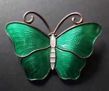 Vintage Ivar Holt Guilloche Enamel Norway 925s Sterling Butterfly Brooch Pin
