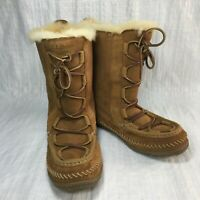 L.L. Bean Wicked Good 291494 Brown Suede Sherpa Fur Women Snow Lodge Boots Sz 8M