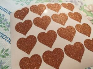 30 1'' rose gold GLITTER hearts nursery decor stickers party envelope seals