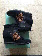 BNIB Clarks Black/Animal Wedge Ankle Shoe/ Boot Size 3.