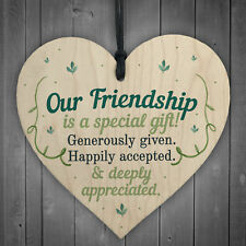 Our Friendship Quote Wood Heart Sign Best Friend Plaque Birthday Thank You Gifts