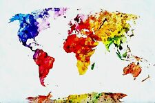 SPLENDIDA pittura astratta Mappa Del Mondo Tela WALL ART PICTURE PRINT 50x75cm