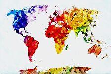Pintura Abstracta mapamundi impresionante LONA pared arte Foto impresión 50x75cm
