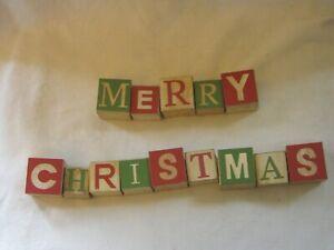 Holiday Christmas Wood Blocks Spells Merry Christmas Red & Green