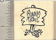 Bunny Trail Sign rubber stamp D9101 WM Rabbit Easter