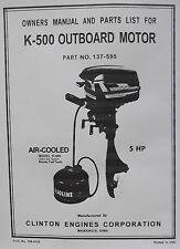 clinton k500, parts list,manual 5hp