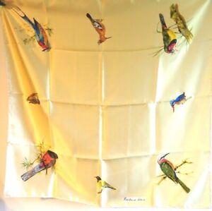 Rowland Ward beautiful cream silk rolled edge bird printed scarf STUNNING