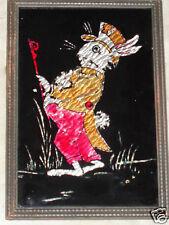 VINTAGE ART DECO FOLK ART RESERVE PAINT FOIL TINSEL RABBIT TOP HAT CANE PICTURE
