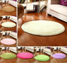 Solid Round Fluffy Anti-Slip Shaggy Area Rug Room Bedroom Carpet Rugs Floor Mat