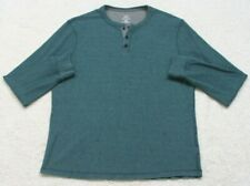 George Blue Henley Tee T-Shirt Top Size Large 42-44 Long Sleeve Mans Solid
