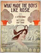 What Made All The Boys Like Rosie 1912 Sheet Music Rare Starmer art Nat D. Ayer