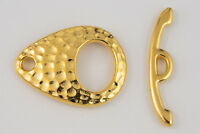 22mm Gold TierraCast Pewter Hammered Ellipse Toggle Clasp (10 Sets) #CK543