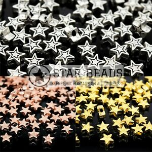 50 X BRASS ALLOY METAL STAR BEADS 7X7X4MM - PICK COLOUR