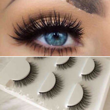 3 Pairs 100% Real Mink Natural Cross Long Thick Eye Lashes False Eyelashe Black