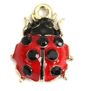 5 GOLD PLATED RED ENAMEL & BLACK RHINESTONE LADYBIRD CHARM PENDANT~Jewellery ()